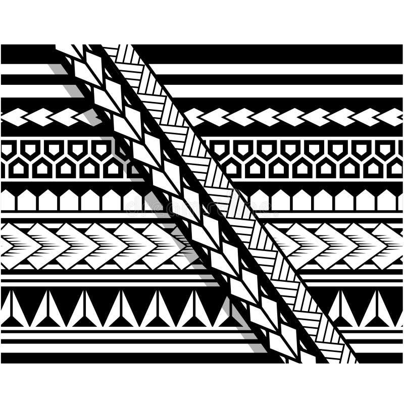 Teste padrão polinésio da luva da tatuagem, antebraço samoano do esboço e projeto do pé, tatuagem maori tribal, faixa da fita do  ilustração stock