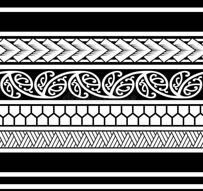 Teste padrão polinésio da luva da tatuagem, antebraço samoano do esboço e projeto do pé, tatuagem maori tribal, faixa da fita do  ilustração royalty free