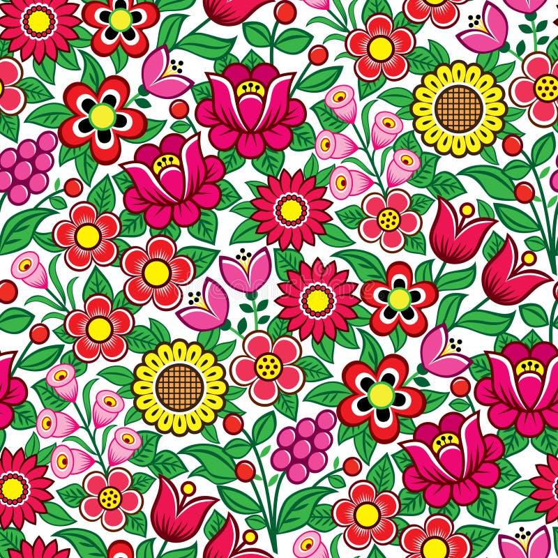 Teste padrão polonês sem emenda floral do vetor da arte popular - projeto tradicional com flores e folhas de Zalipie no Polôni ilustração stock