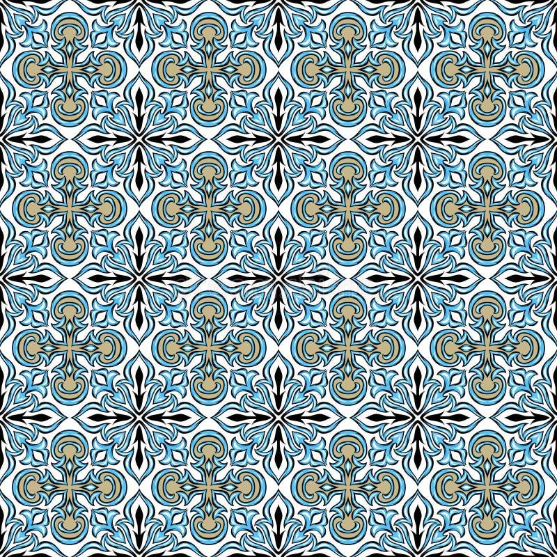 Teste padrão português do azulejo do azulejo ilustração do vetor