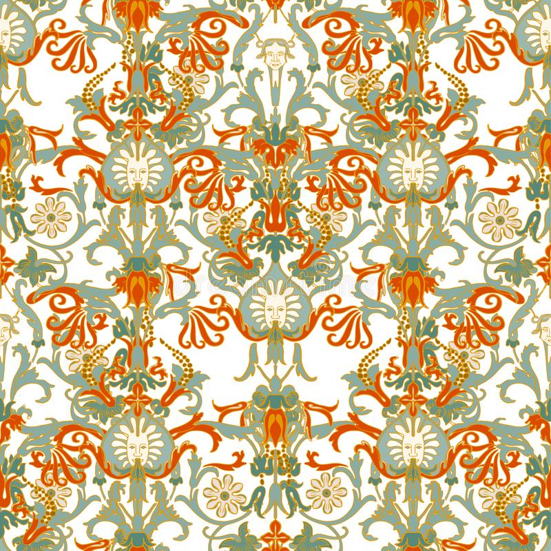 Teste padrão português do azulejo do azulejo Ornamento popular étnico Ornamento tradicional mediterrâneo Cerâmica italiana, mexic ilustração royalty free