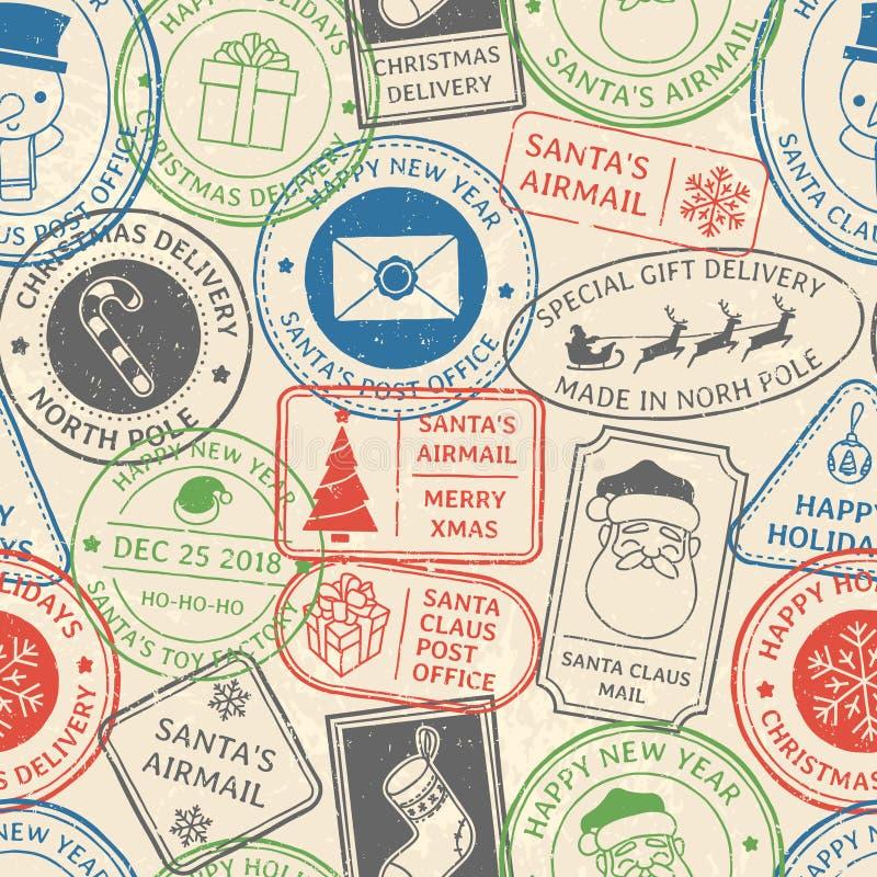 Teste padrão postal do Natal Prestígio do carimbo postal de Santa Claus, selo do cartão do porte postal do feriado de inverno e s ilustração stock