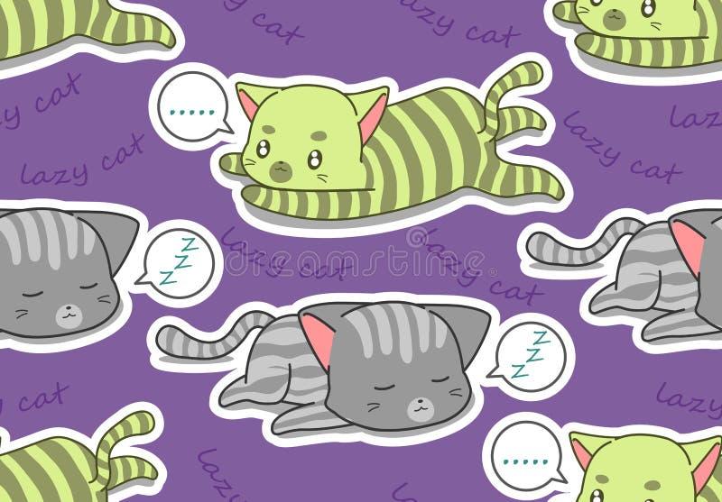 Teste padrão preguiçoso sem emenda de 2 gatos ilustração stock