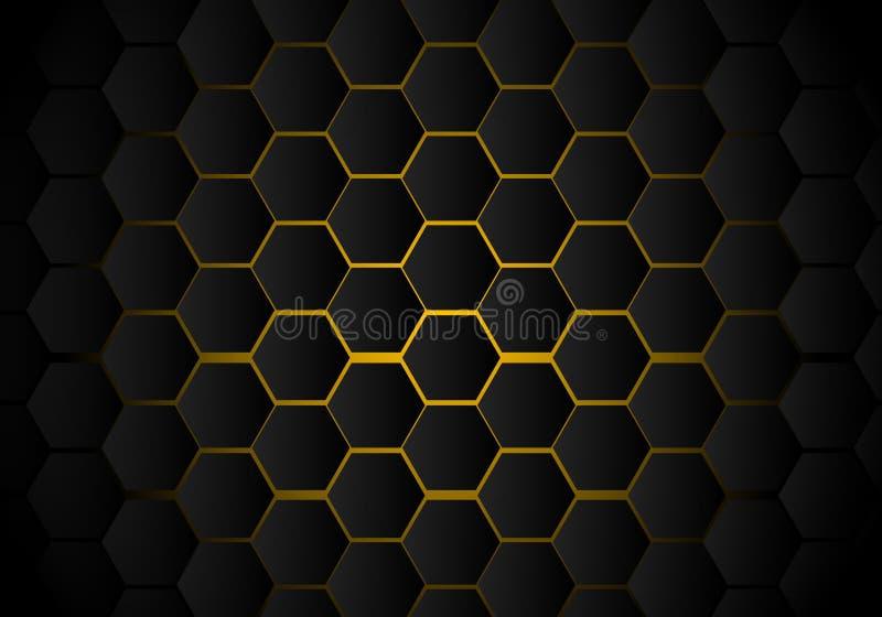 Teste padrão preto abstrato do hexágono no estilo de néon amarelo da tecnologia do fundo Favo de mel ilustração do vetor