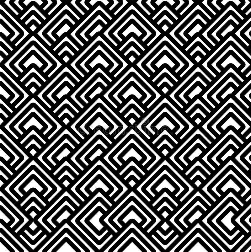 Teste padrão preto & branco geométrico ilustração do vetor