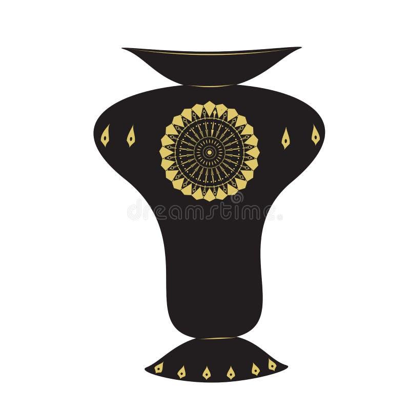 Teste padrão preto do projeto do ornamento do vaso vetor dourado do fundo da luz da cor do grande ilustração royalty free