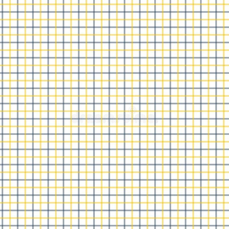 Teste padrão preto e amarelo da verificação de Tattersall Tela de matéria têxtil da forma da camisa dos homens Repetindo o teste  ilustração do vetor