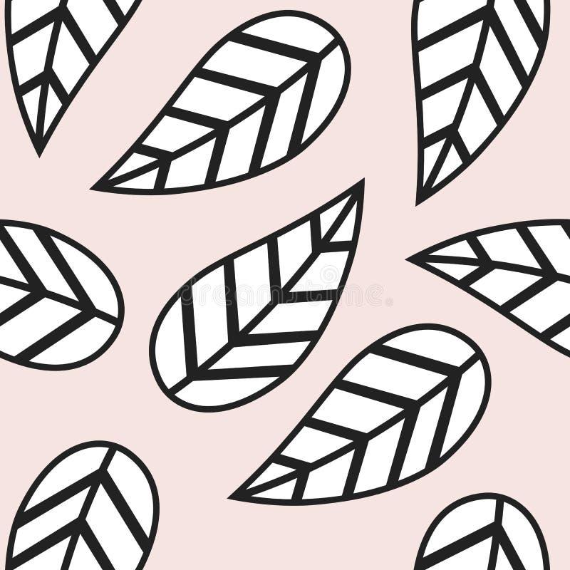 Teste padrão preto e branco abstrato bonito da folha ilustração stock