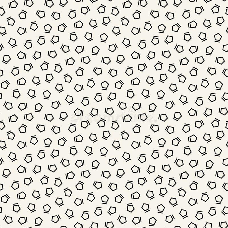 Teste padrão preto e branco abstrato do pentagon da forma de memphis da arte do deco ilustração do vetor