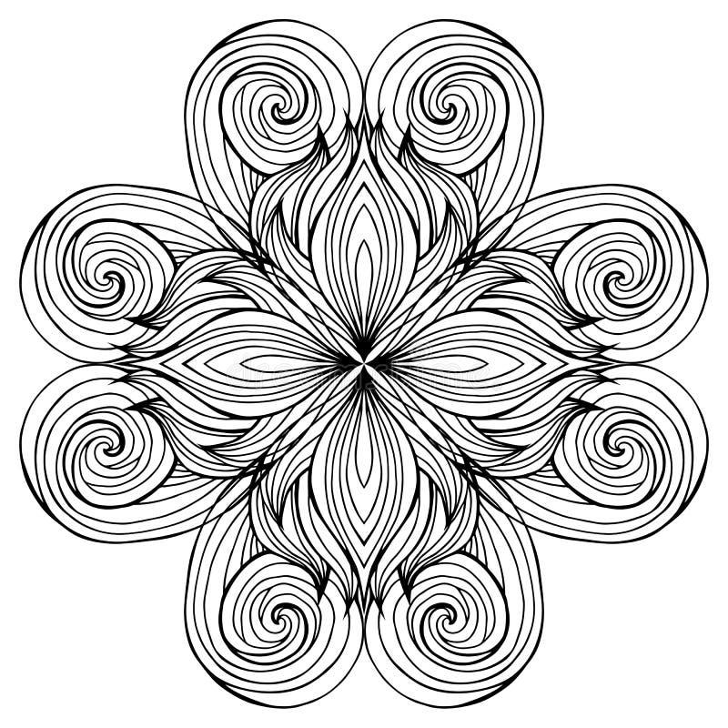 Teste padrão preto e branco circular da garatuja do cabelo ilustração stock