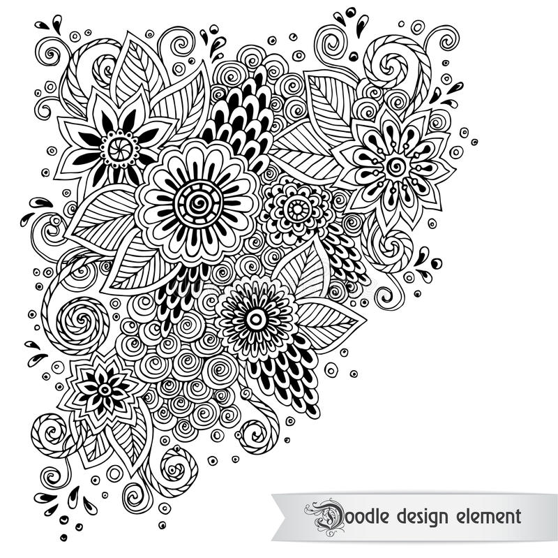 Teste padrão preto e branco da garatuja retro floral dentro ilustração stock
