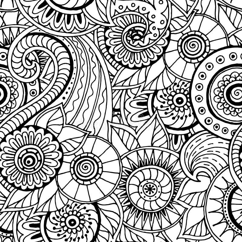 Teste padrão preto e branco da garatuja retro floral sem emenda no vetor ilustração do vetor