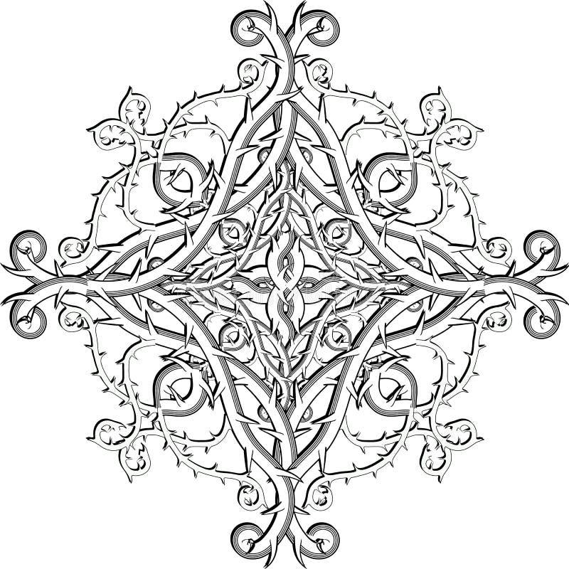 Teste padrão preto e branco da mandala do vetor do damasco floral de estilo celta Fundo branco do vintage decorativo da elegância ilustração royalty free