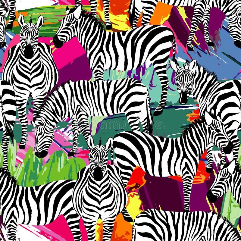 Teste padrão preto e branco da zebra, fundo de pintura ilustração do vetor