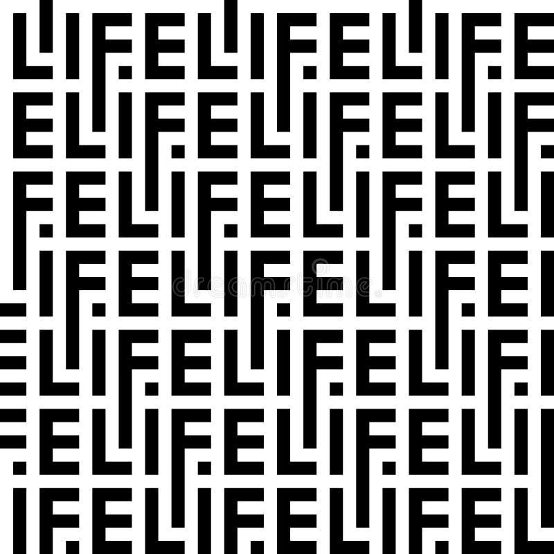 Teste padr?o preto e branco das letras da vida da palavra ilustração stock