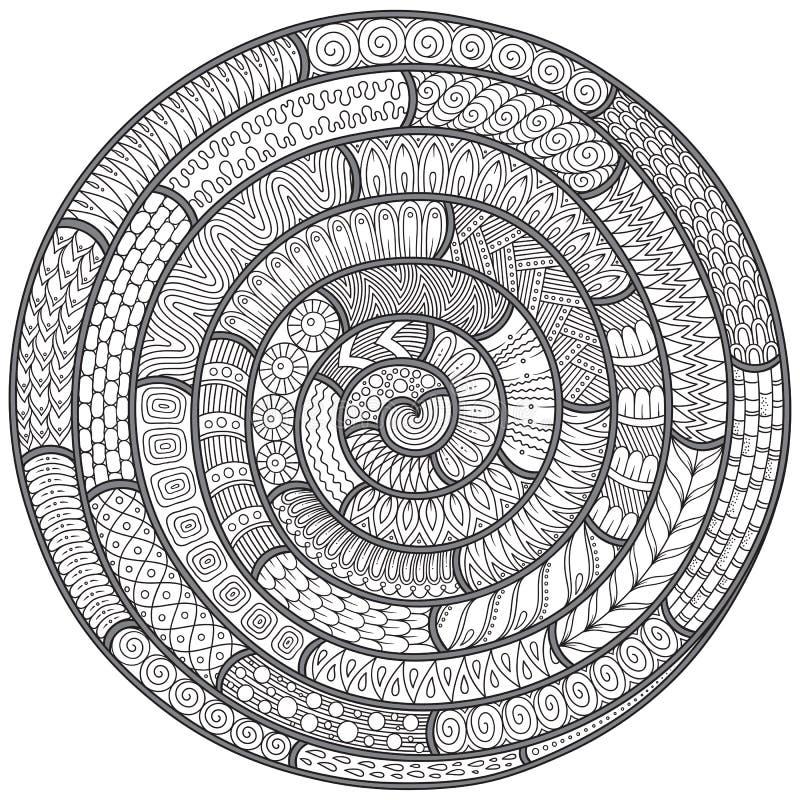 Teste padrão preto e branco de Spikey doodle Zentagles tirados mão ilustração royalty free