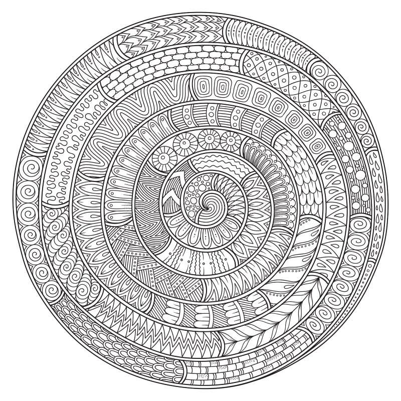 Teste padrão preto e branco de Spikey doodle Zentagles tirados mão ilustração do vetor