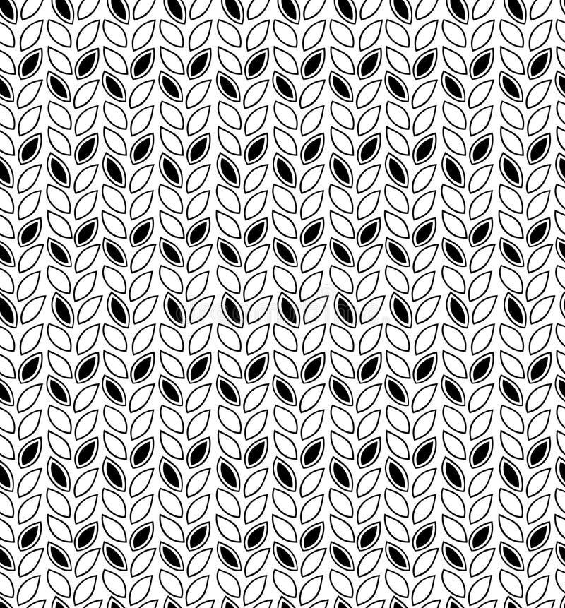 Teste padrão preto e branco de Spikey Fundo sem emenda do contorno com fileiras das folhas ilustração do vetor