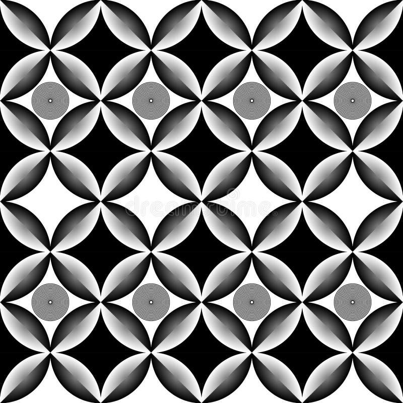 Teste padrão preto e branco do círculo abstrato da arte op ilustração do vetor
