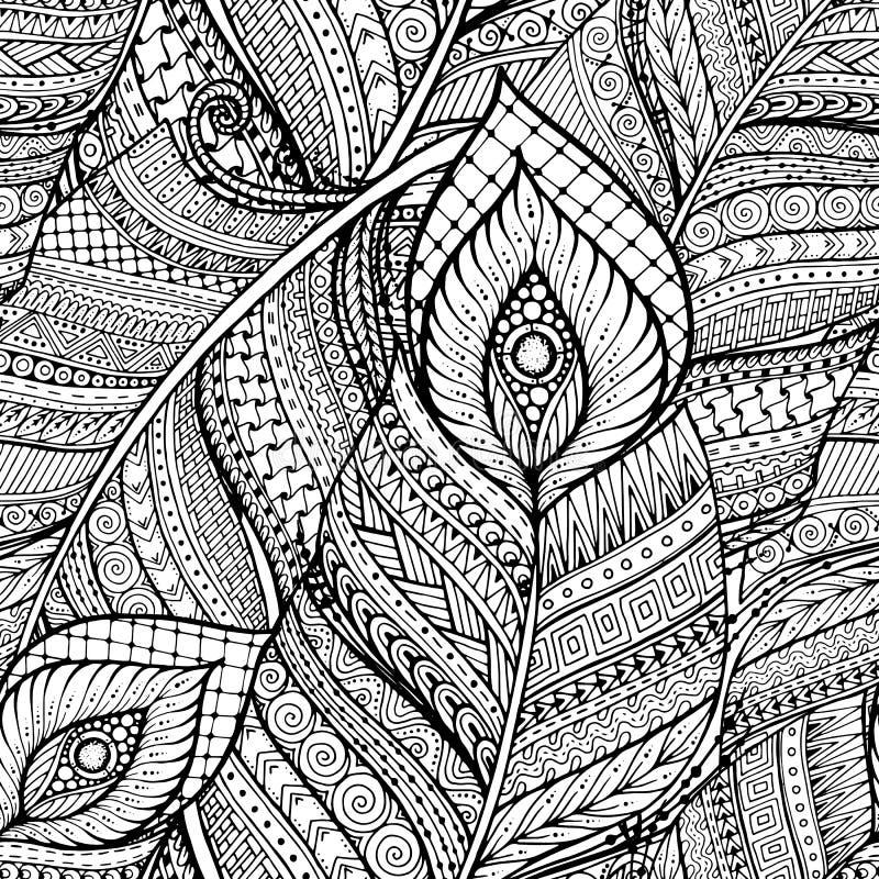 Teste padrão preto e branco do fundo da garatuja retro floral étnica asiática sem emenda no vetor com penas ilustração royalty free