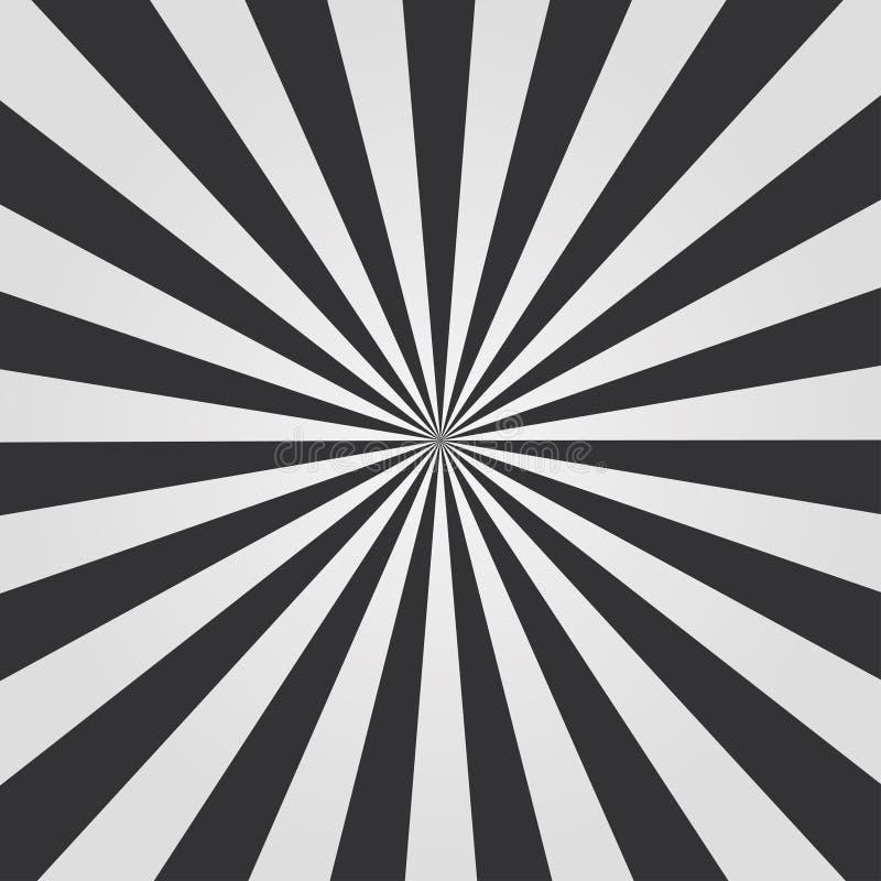Teste padrão preto e branco do sunburst Fundo cômico Ilustração do vetor ilustração stock