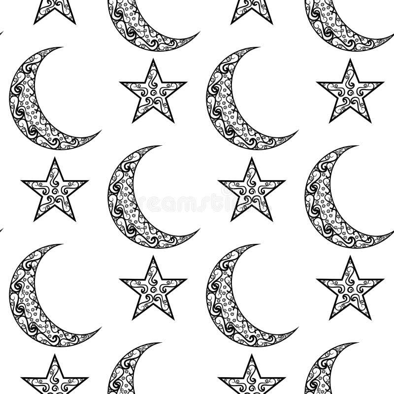 Teste padrão preto e branco do vintage para o festival de Eid Mubarak, a lua crescente e a estrela decorados no fundo branco para ilustração stock