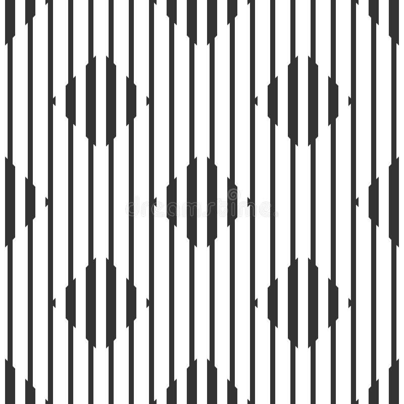 Teste padrão preto e branco geométrico sem emenda abstrato ilustração stock