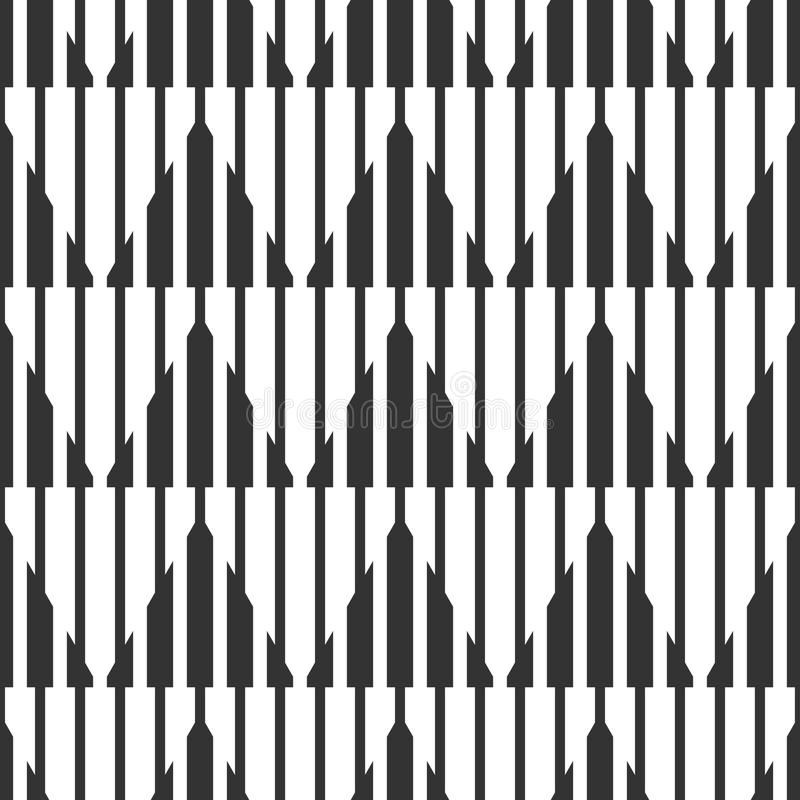Teste padrão preto e branco geométrico sem emenda abstrato, estreito e ilustração do vetor