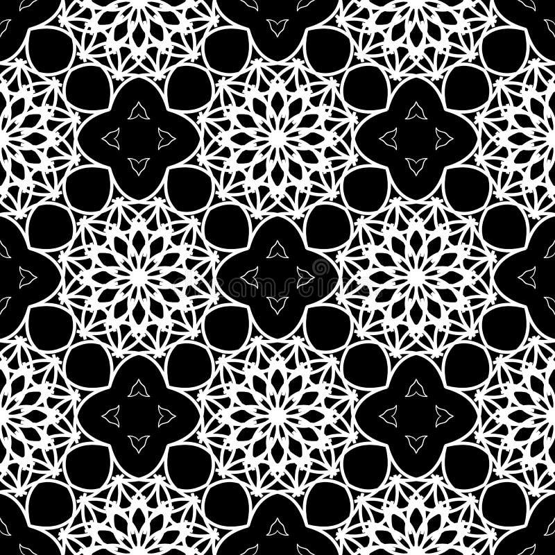 Teste padrão preto e branco intrincado Sumário laço-como o fundo sem emenda ilustração do vetor
