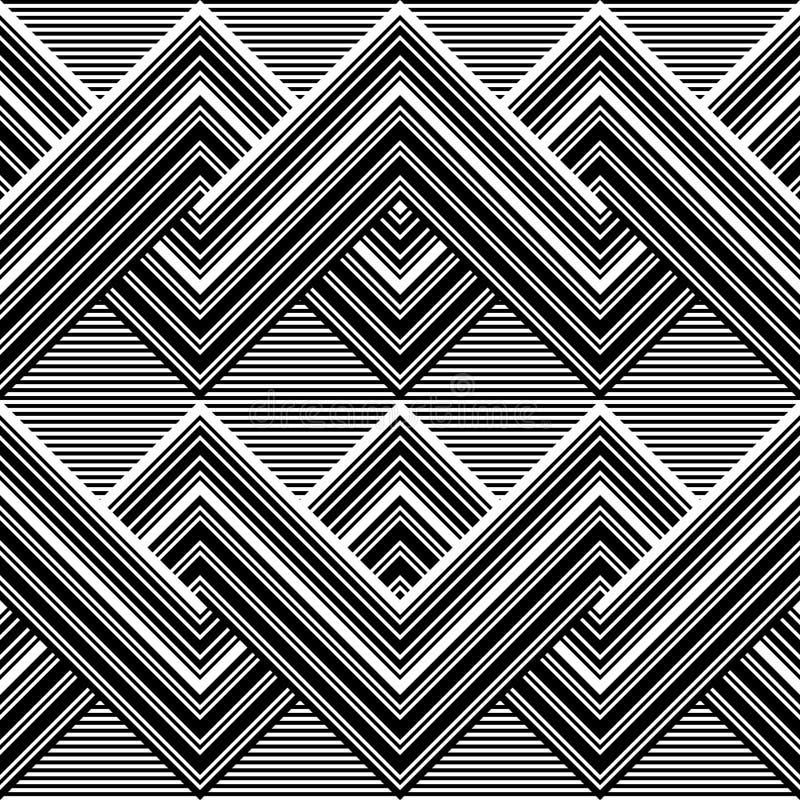 Teste padrão preto e branco por linhas ilustração royalty free