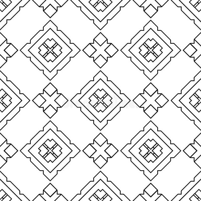 Teste padrão preto e branco sem emenda abstrato fotografia de stock