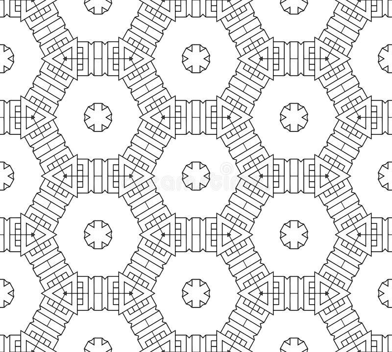 Teste padrão preto e branco sem emenda abstrato imagens de stock