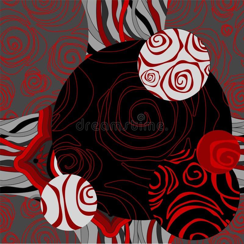 Teste padrão preto e branco sem emenda com flores - estoque dos retalhos ilustração do vetor