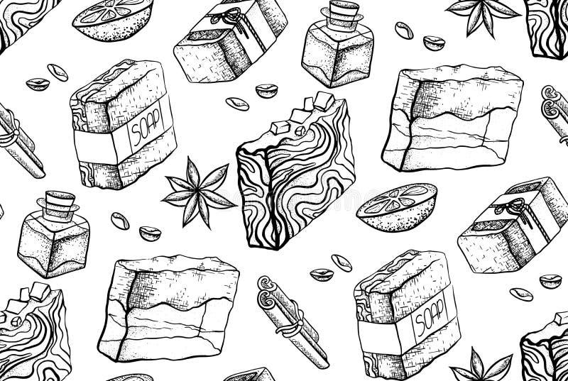 Teste padrão preto e branco sem emenda com o desenho feito à mão do sabão Papel de parede com sabão, laranja, varas de canela, fe ilustração royalty free