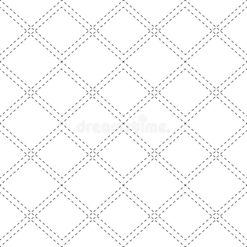 Teste padr?o preto e branco sem emenda com os pontos do contorno dos rombos A textura da tela e da manta Fundo do vetor ilustração do vetor