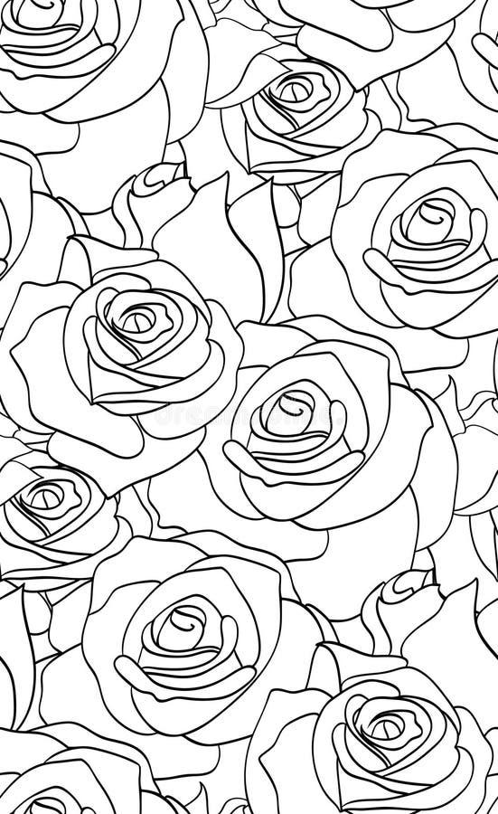 Teste padrão preto e branco sem emenda com rosas ilustração royalty free