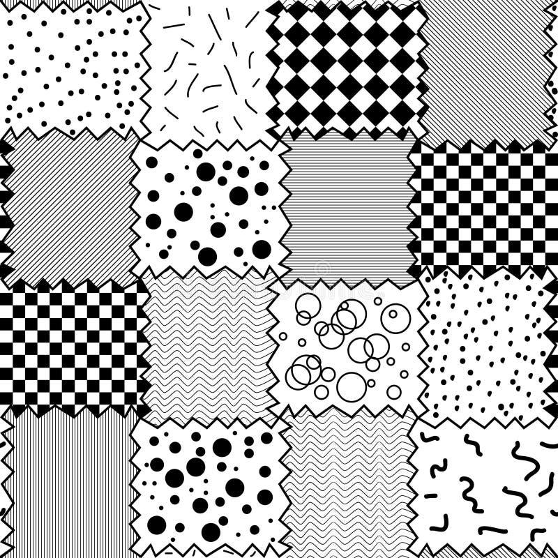 Teste padrão preto e branco sem emenda de fragmentos de matéria têxtil ilustração stock
