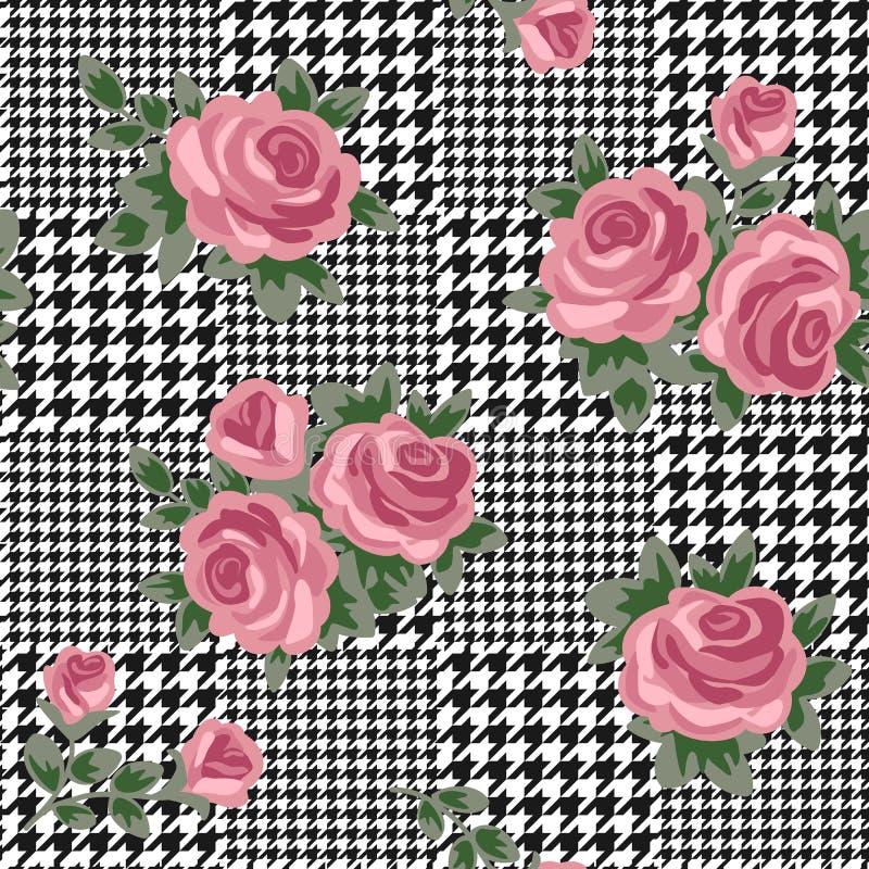 Teste padrão preto e branco sem emenda do houndstooth do vetor com as rosas retros cor-de-rosa ilustração royalty free