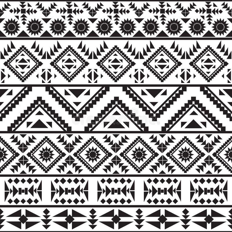 Teste padrão preto e branco sem emenda do navajo ilustração royalty free