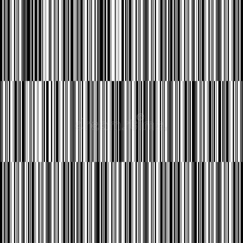 Teste padrão preto e branco sem emenda - linhas ilustração stock
