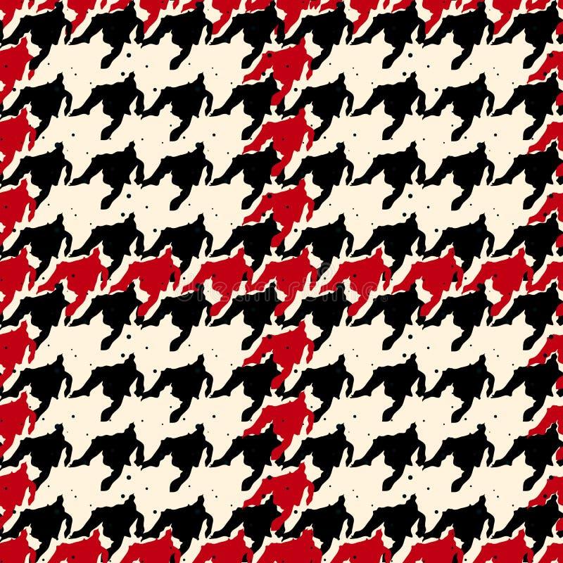 Teste padrão preto e vermelho sem emenda do houndstooth com linhas vermelhas vetor eps10 da manta de matéria têxtil do teste padr ilustração royalty free