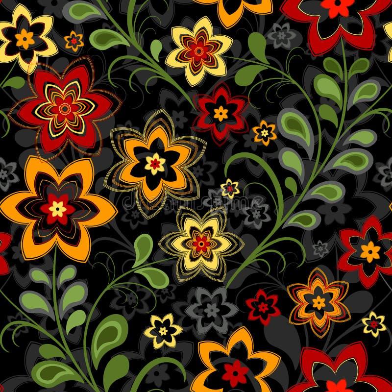 Teste padrão preto floral sem emenda ilustração royalty free