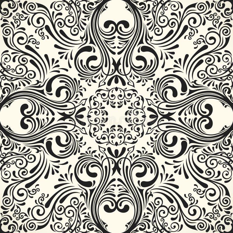 Teste padrão preto sem emenda do vetor com ornamento da arte Elementos do vintage para o projeto no estilo vitoriano ilustração do vetor