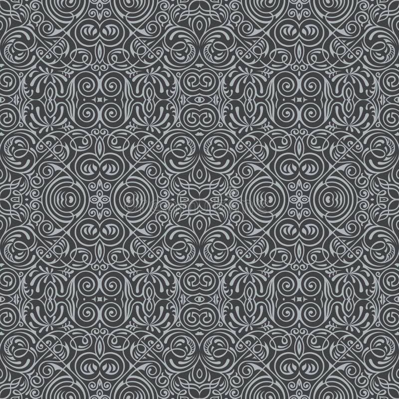 Teste padrão preto sem emenda do vetor com ornamento da arte Elementos do vintage para o projeto no estilo vitoriano ilustração royalty free