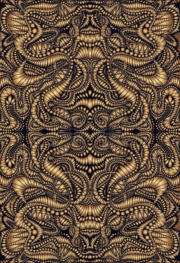 Teste padrão psicadélico da mandala do fractal do vintage Estilo de Steampunk, cores douradas do inclinação, esboço marrom Ilustr ilustração do vetor