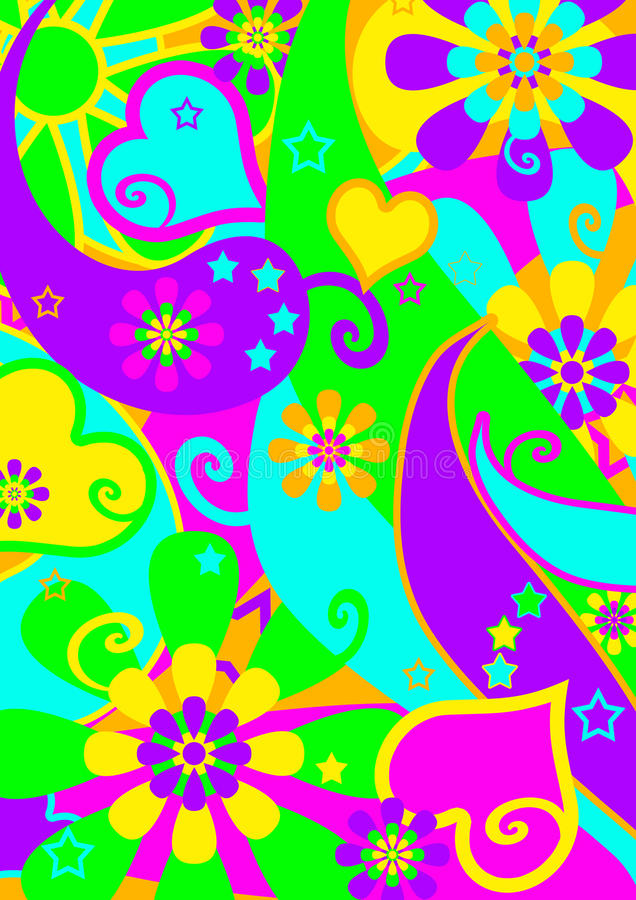Teste padrão psicadélico Funky da potência de flor ilustração royalty free
