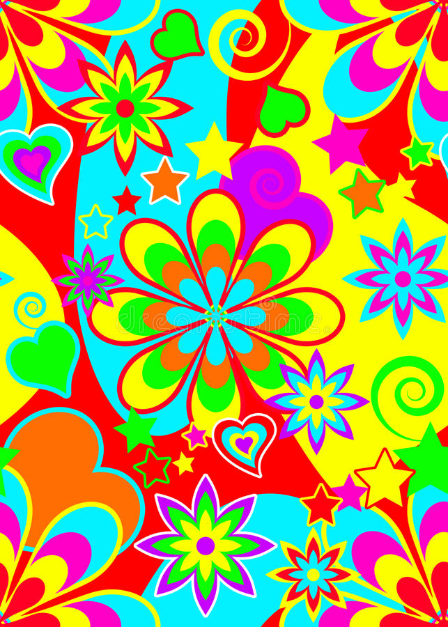 Teste padrão psicadélico sem emenda do Hippie ilustração stock