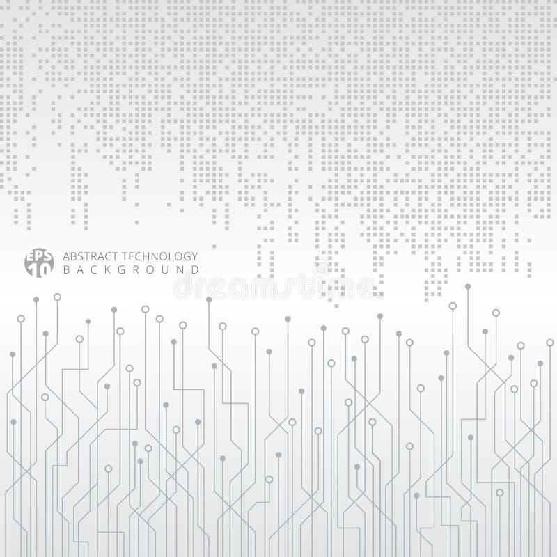 Teste padrão quadrado cinzento abstrato dos dados digitais da tecnologia com circui ilustração stock