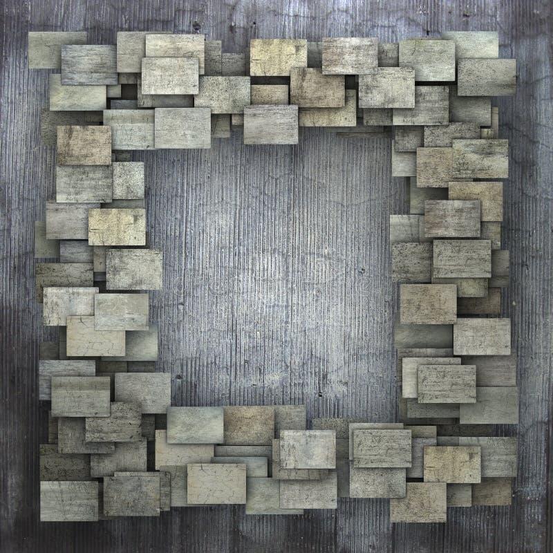 teste padrão quadrado cinzento do grunge da telha 3d na parede suja cinzenta ilustração royalty free