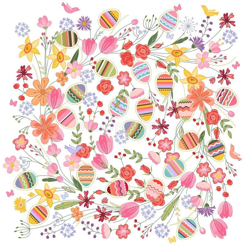Teste padrão quadrado da Páscoa com flores e ovos do contorno no branco ilustração royalty free